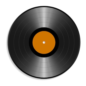 Disque vinyle vierge maquette sur fond blanc. modèle vide réaliste d'une plaque d'enregistrement de musique. élément de design graphique pour scrapbooking, flyer musical ou affiche, site web. illustration vectorielle.
