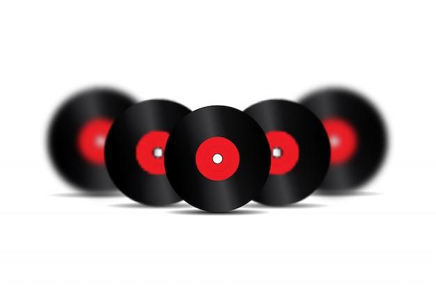 Disques vinyle rétro réalistes pour la décoration et la couverture sur fond blanc. concept de musique vintage et dj.