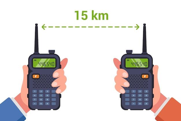Distance disponible pour une conversation confortable à la radio.