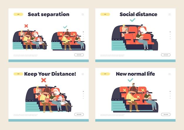 Distance Sociale Au Cinéma Et Nouveau Style De Vie Normal De Covid Vecteur Premium