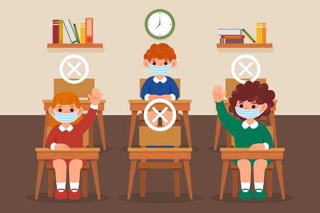 Distance sociale au concept de l'école