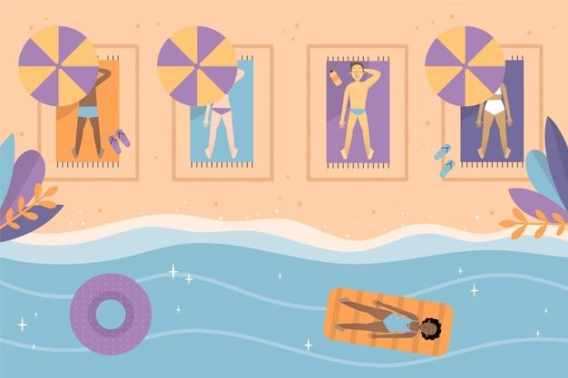Distance sociale sur le concept de la plage