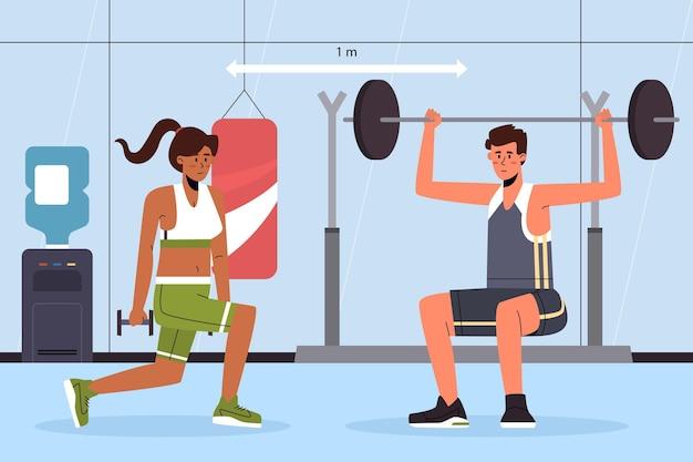 Distance sociale dans le concept de gym