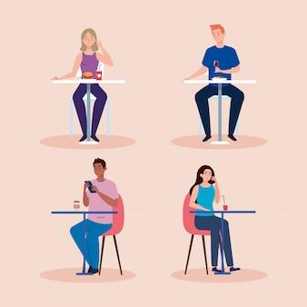Distance sociale dans un nouveau concept, groupe de personnes mangeant sur table, protection, prévention des coronavirus covid 19