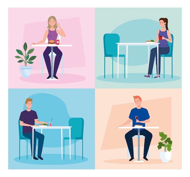 Distance sociale dans un nouveau concept de restaurant, personnes à table, protection, prévention du coronavirus covid 19