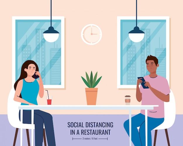 Distance sociale dans un restaurant nouveau concept, couple sur table, protection, prévention du coronavirus covid 19