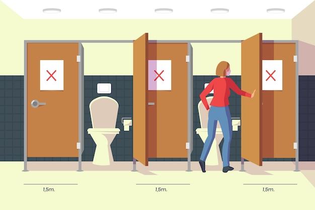 Distance sociale dans les toilettes publiques