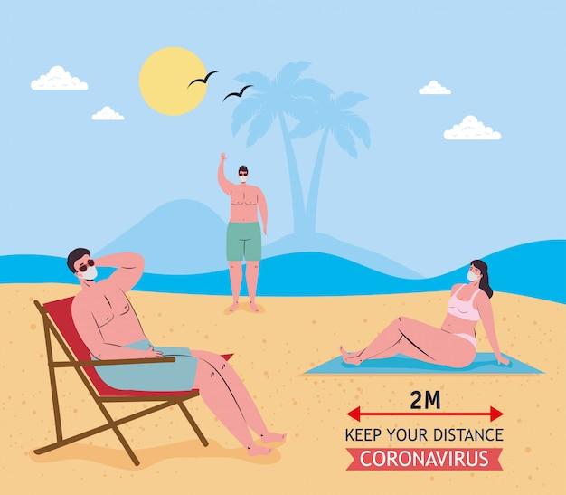 Distance sociale entre garçons et fille avec des masques médicaux à la conception de vecteur de plage