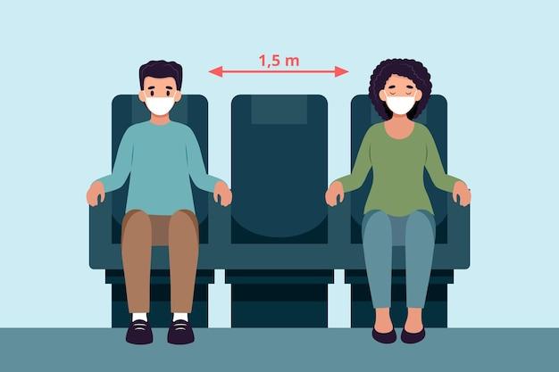 Distance sociale entre les passagers