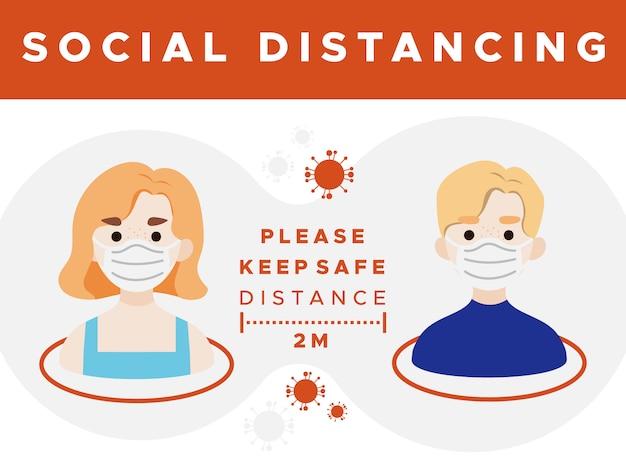 Distance Sociale Garder Le Signe De Sécurité Vecteur Premium