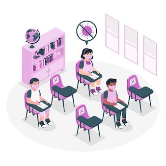 Distance sociale à l'illustration de concept d'école