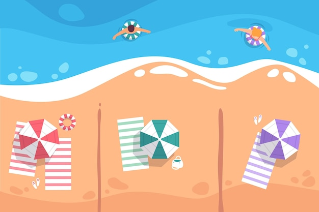 Distance sociale sur la plage
