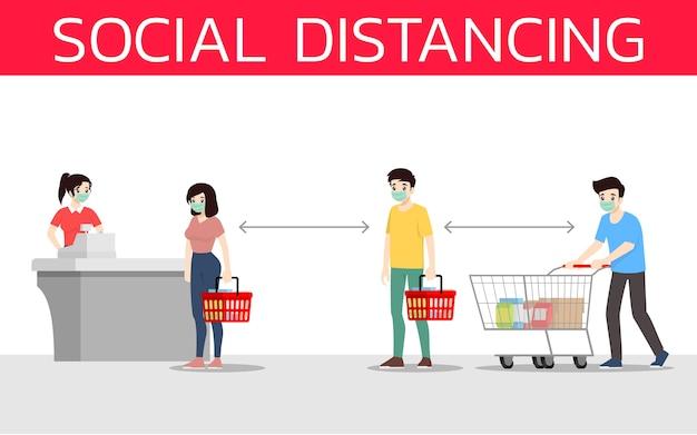 Distance sociale pour empêcher le coronavirus ou le covid-19 des autres personnes au supermarché.