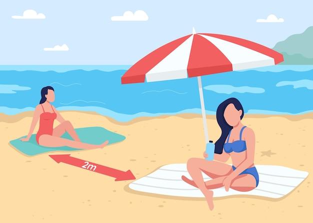Distanciation sociale à l'appartement de plage