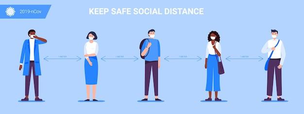 Distanciation sociale au design plat