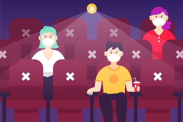 Distanciation sociale dans les cinémas