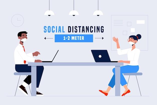 Distanciation sociale dans un concept de réunion