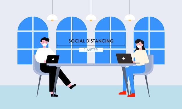 Distanciation sociale dans une conception de réunion illustration vectorielle gratuite