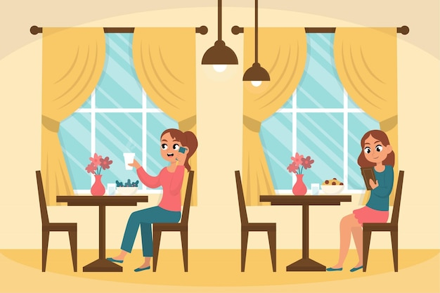 Distanciation sociale dans une illustration de restaurant