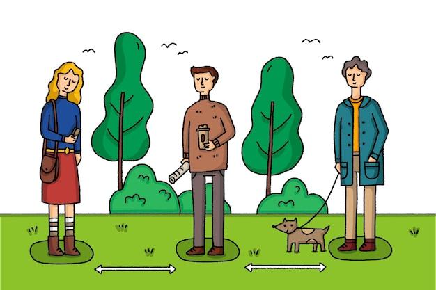 Distanciation sociale dans un parc avec des gens et des animaux