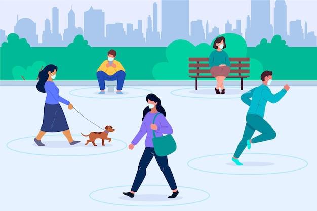Distanciation sociale dans un parc
