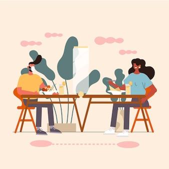 Distanciation sociale dans un restaurant