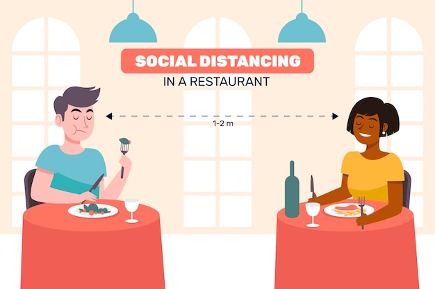 Distanciation sociale dans un restaurant