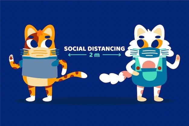 Distanciation sociale du coronavirus avec des animaux mignons