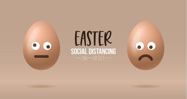 Distanciation sociale à l'emoji de pâques