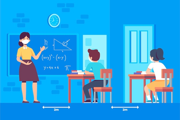 Distanciation sociale entre élèves à l'école