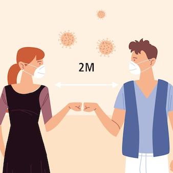 Distanciation sociale, espace entre les personnes pour éviter la propagation de covid 19