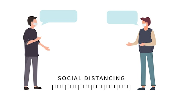 Distanciation sociale espace entre les personnes pour éviter de propager le virus covid19
