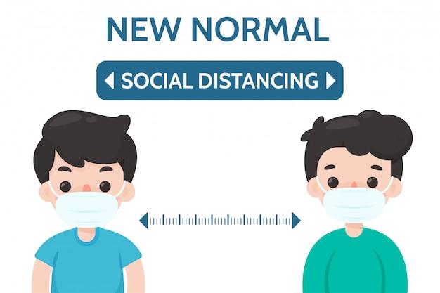Distanciation sociale. espacement entre vous et les autres pour prévenir l'infection par le virus corona ..