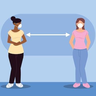 Distanciation sociale, femmes debout à distance pour prévenir les maladies