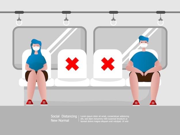 Distanciation sociale, garçon et fille portant un masque dans les transports publics, caricature de concept de propagation d'épidémie de virus
