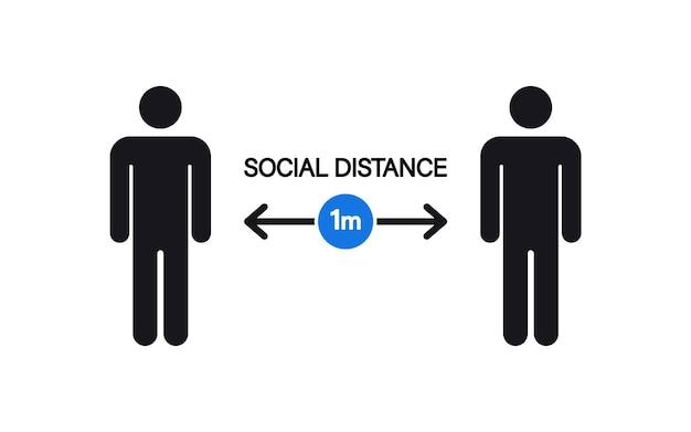 Distanciation sociale. gardez un signe de distance de sécurité. gardez la distance de 1 mètre. étapes pour vous protéger pendant la propagation du coronavirus afin de réduire la transmission du virus. coronavirus, covid-19 mesures préventives