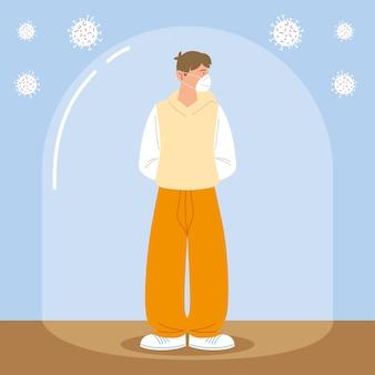 Distanciation sociale, homme avec masque de prévention pendant le coronavirus covid 19