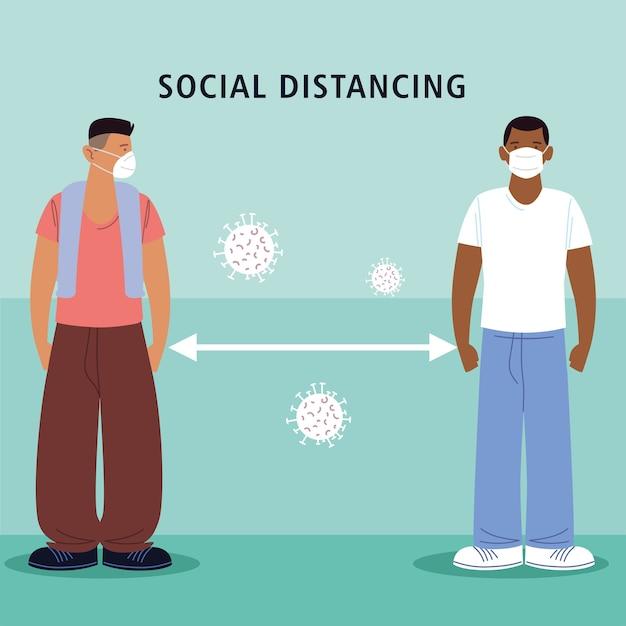 Distanciation sociale, hommes de caractère avec des masques médicaux, pendant le coronavirus covid 19