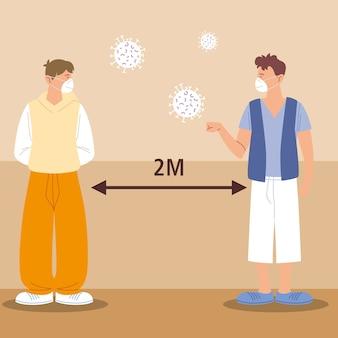 Distanciation sociale, les jeunes hommes avec des masques saluant gardent leurs distances, pendant le coronavirus covid 19