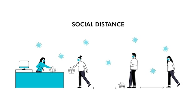 La distanciation sociale maintient la distance dans les personnes de la société publique pour se protéger du coronavirus covid19