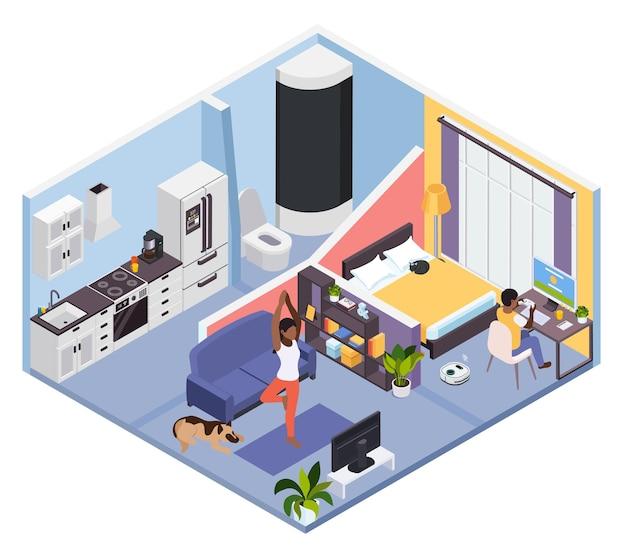 Distanciation sociale à la maison en faisant différentes activités
