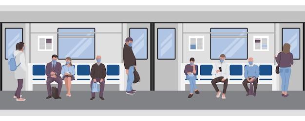 Distanciation sociale des navetteurs frontière transparente du métro pour les affiches de modèles de bannières web