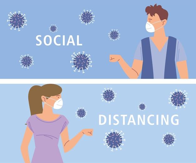Distanciation sociale, nouveaux gestes de salutation normaux entre les personnes, pendant le coronavirus covid 19