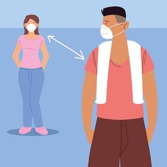 Distanciation sociale, personnage homme et femme portant une chirurgie, pendant le coronavirus covid 19