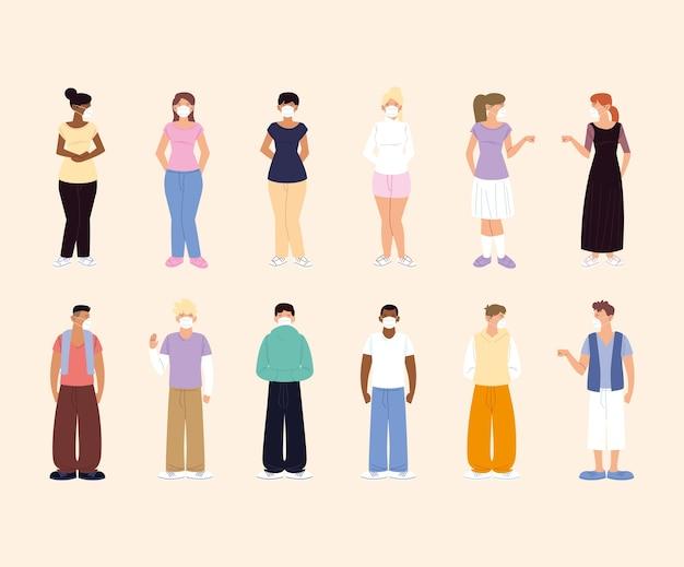 Distanciation sociale, personnages femmes et hommes avec masques de protection, prévention coronavirus covid 19
