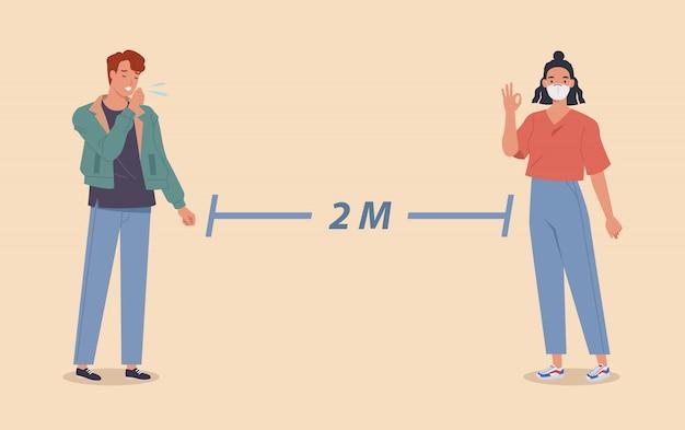 Distanciation sociale, les personnes gardant la distance pour le risque d'infection et la maladie, portant un masque médical pour prévenir le virus covid-19 coronavirus. illustration vectorielle dans un style plat