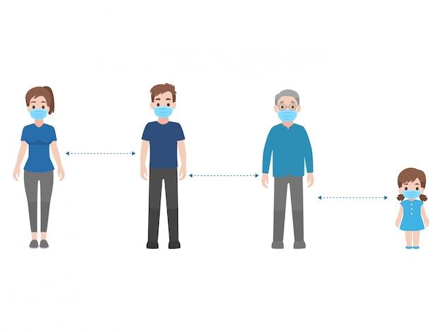 Distanciation sociale, les personnes gardant la distance pour le risque d'infection et la maladie