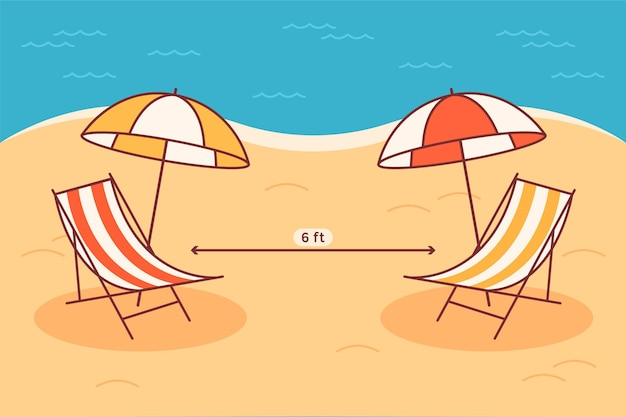 Distanciation sociale sur la plage