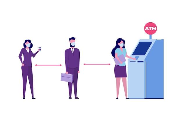 Distanciation sociale et prévention du coronavirus covid-19. les gens font la queue près du guichet automatique. illustration vectorielle dans un style plat