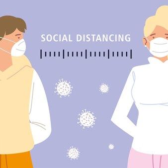 Distanciation sociale, protégez-vous et protégez les autres personnes avec des masques pendant le coronavirus covid 19